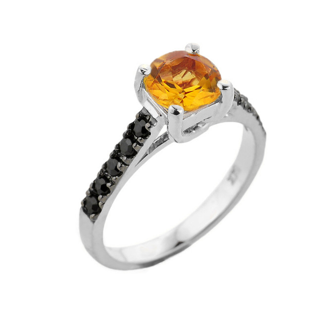 White Gold Citrine and Black Diamond Solitaire Engagement Ring