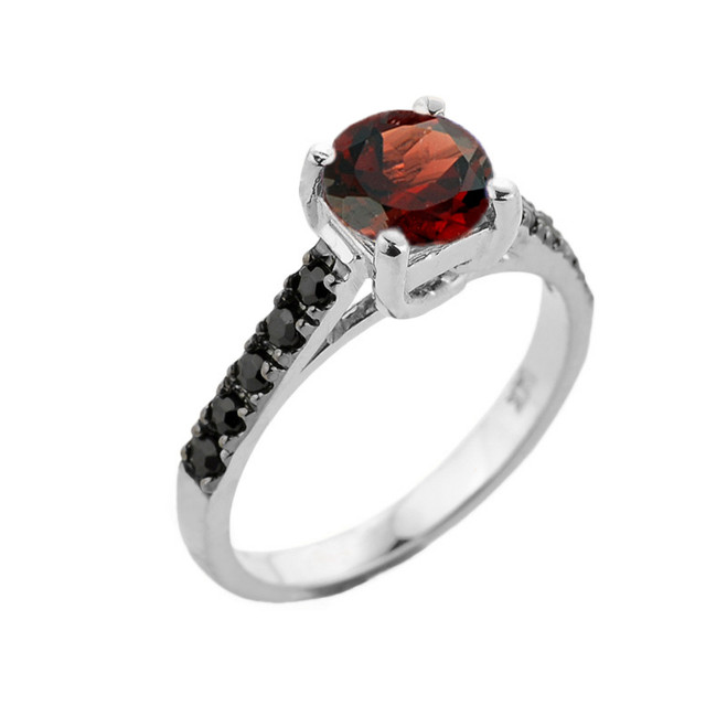 White Gold Garnet and Black Diamond Solitaire Engagement Ring