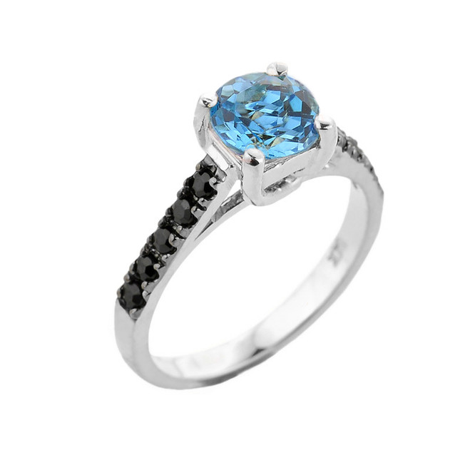 White Gold Blue Topaz and Black Diamond Solitaire Engagement Ring