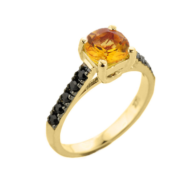 Yellow Gold Citrine and Black Diamond Solitaire Engagement Ring