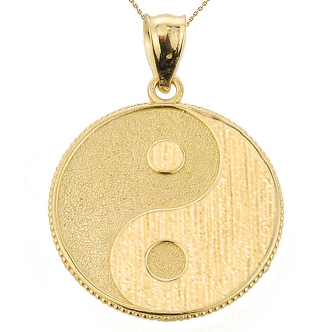 Yellow Gold Yin and Yang Taoist Symbol Charm Pendant