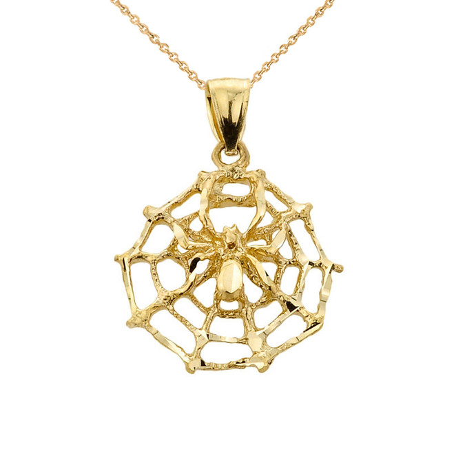 Yellow Gold Spider Web Charm Pendant Necklace