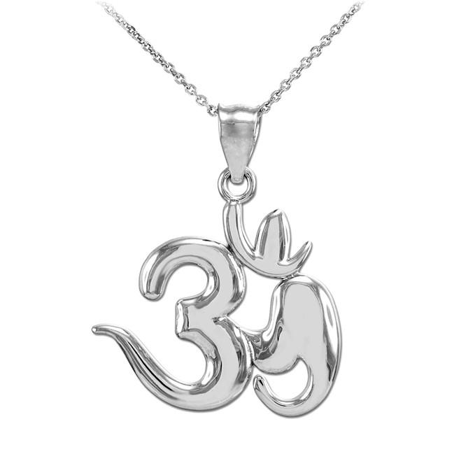 Silver Om Symbol Pendant Necklace