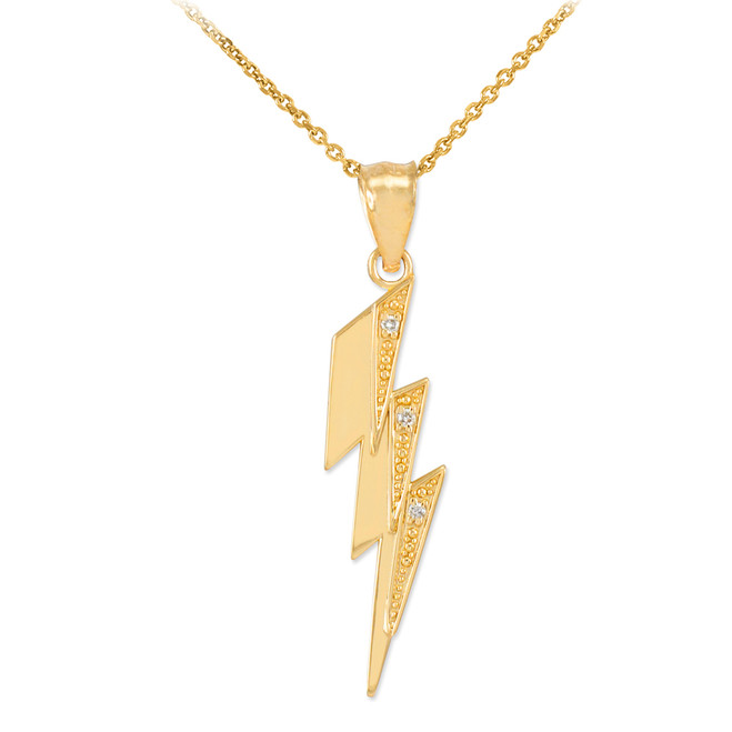 Gold Thunderbolt Pendant Necklace with Diamonds