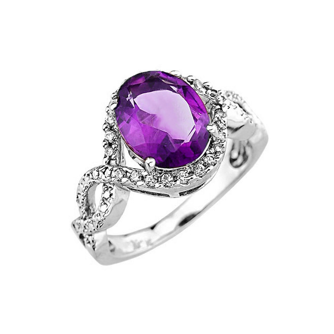 White Gold Amethyst and Diamond Infinity Engagement Ring