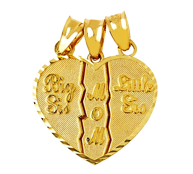 3 piece break apart mom big sis little sis heart pendant, in gold.