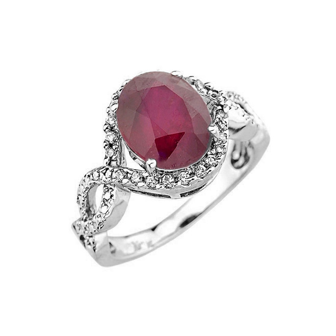 White Gold Ruby and Diamond Infinity Engagement Ring