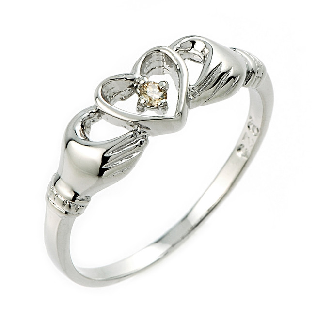 Silver Claddagh Champagne Diamond Ring