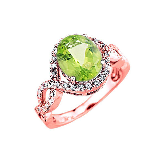Rose Gold Peridot and Diamond Infinity Engagement Ring