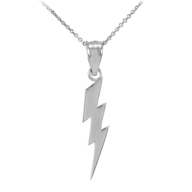 White Gold Thunderbolt Charm Pendant Necklace