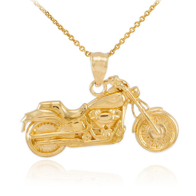 Gold Motorcycle Pendant Necklace