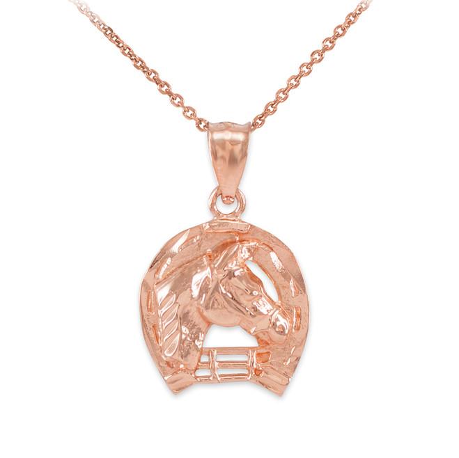 Rose Gold Horseshoe with Horse Head Charm Pendant Necklace