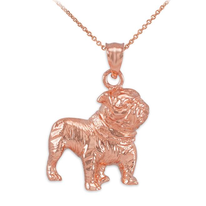 Rose Gold Bulldog  Pendant Necklace