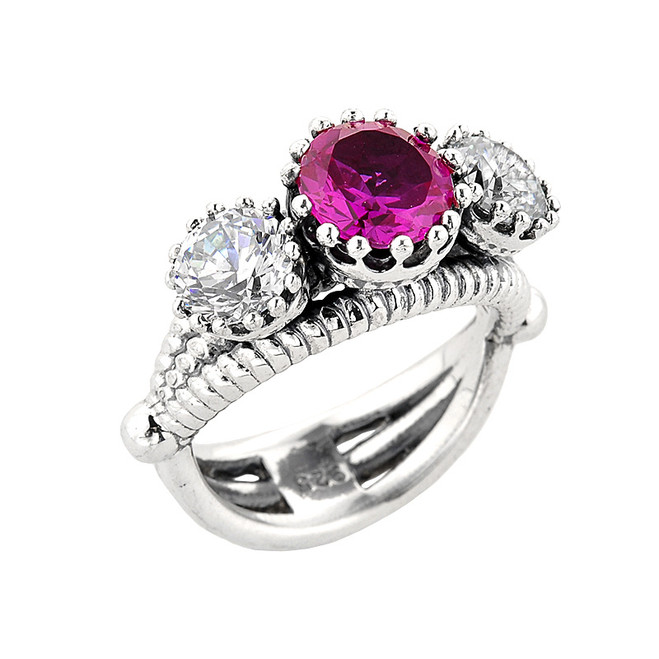 Sterling Silver Pink Sapphire and White Topaz Ladies Ring