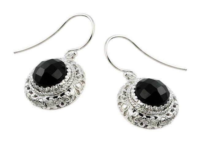 Sterling Silver Checkerboard Cut Black Onyx Earrings