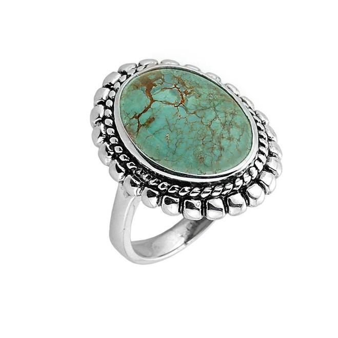 Sterling Silver Bezel Set Turquoise Gemstone Ring