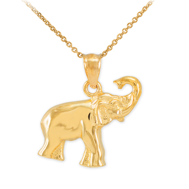 Gold Elephant Charm Pendant Necklace