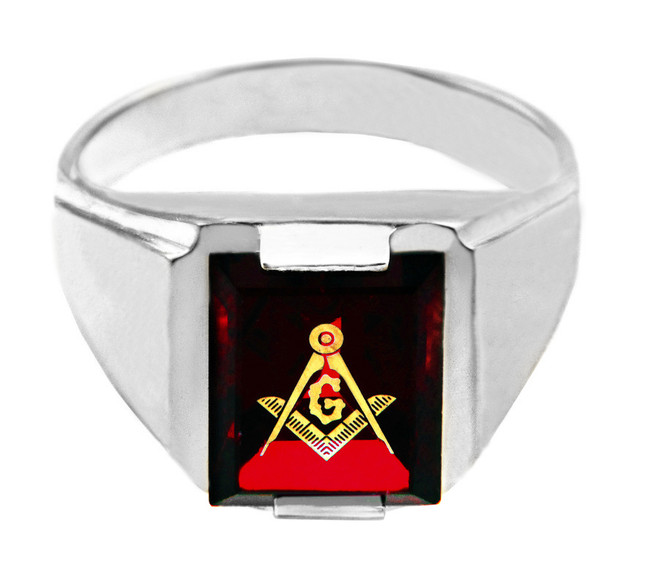 White Gold Freemason Red Stone Square & Compass Masonic Mens Ring
