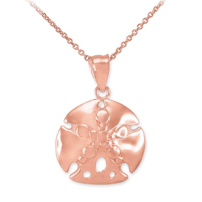 Rose Gold Sand Dollar Pendant Necklace