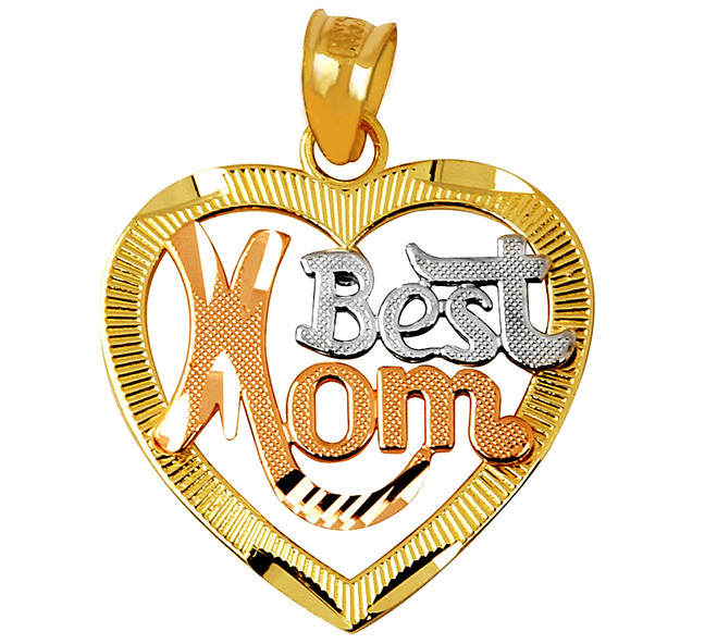 """Best Mom"" Tri-Color Heart Gold Pendant"