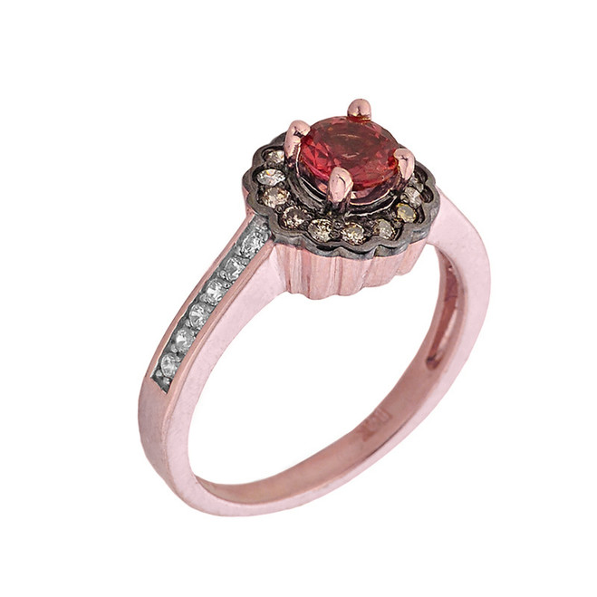 14k Rose Gold Pink Sapphire and Diamond Pave Engagement Ring