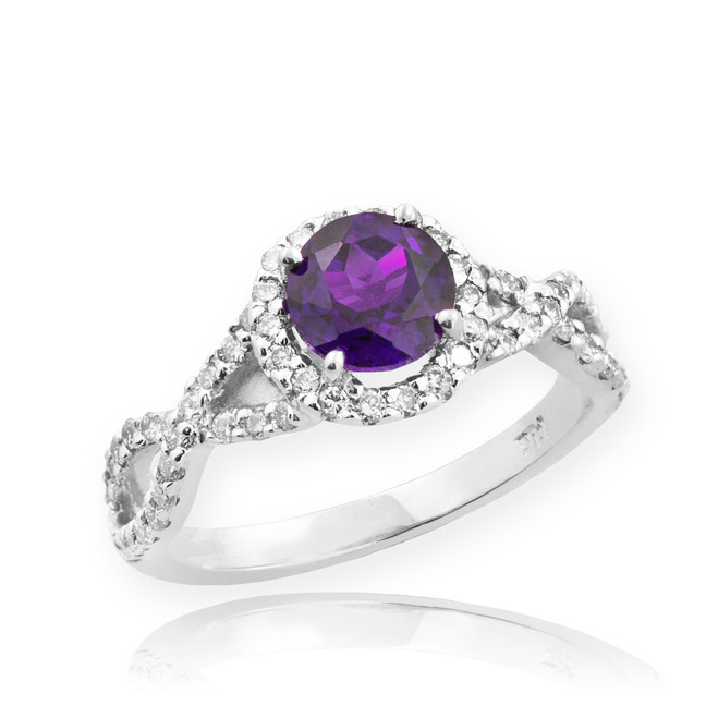 White Gold Amethyst Birthstone Infinity Ring with Diamonds