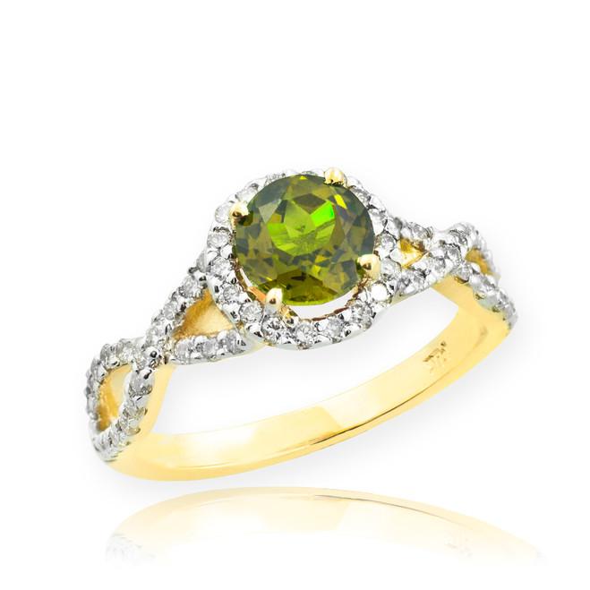 Gold Peridot Birthstone Infinity Ring with Diamonds
