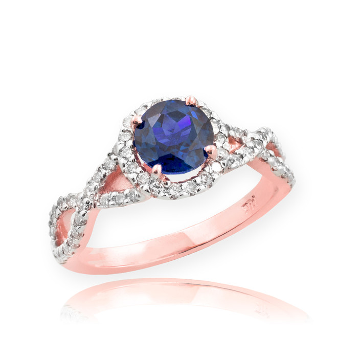 Rose Gold Sapphire Birthstone Infinity Ring with Diamonds