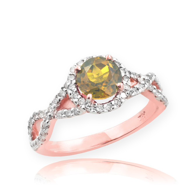 Rose Gold Citrine Birthstone Infinity Ring with Diamonds