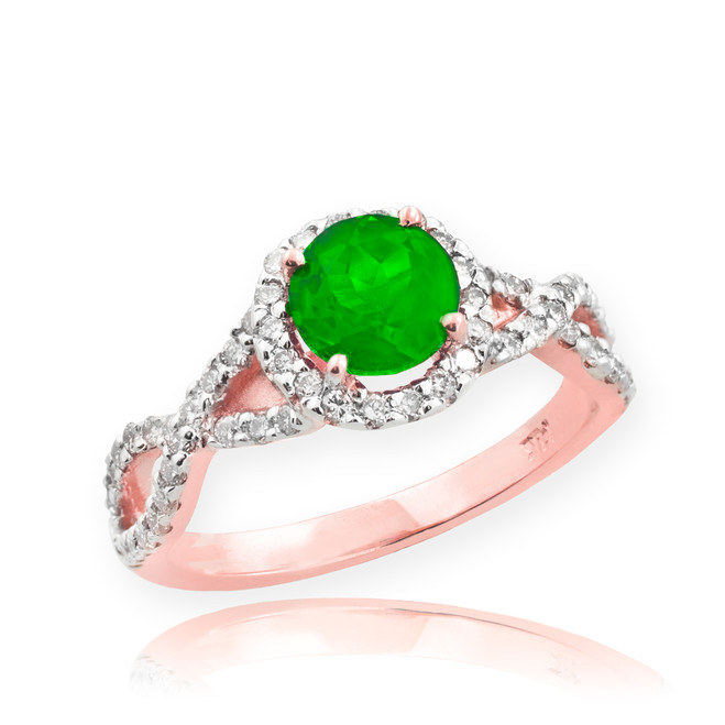 Rose Gold Emerald Infinity Ring with Diamonds