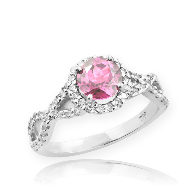 White Gold Pink Topaz Infinity Ring with Diamonds