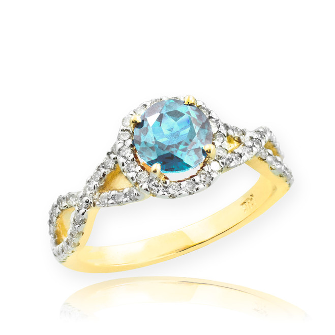 Gold Aquamarine Birthstone Infinity Ring with Diamonds