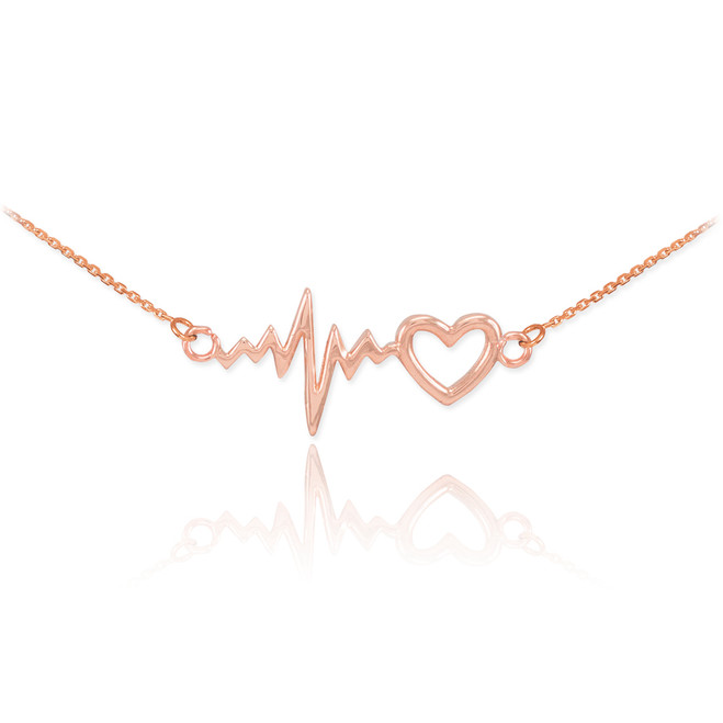 Heartbeat Necklace - 14K Rose Gold