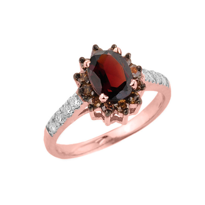 14k Rose Gold Garnet and Diamond Ladies Ring