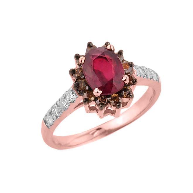 14k Rose Gold Ruby and Diamond Ladies Ring