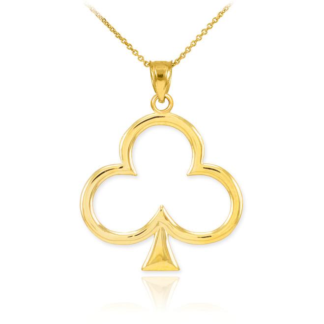 Gold Clover Shamrock Pendant Necklace
