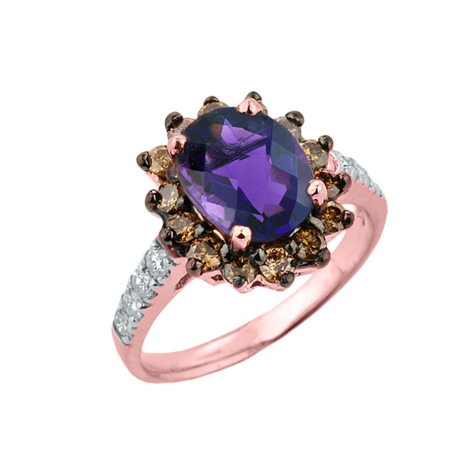 Rose Gold Amethyst Birthstone and Diamond Proposal Ring
