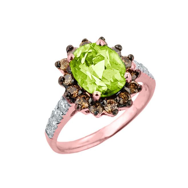 Rose Gold Peridot Birthstone and Diamond Proposal Ring