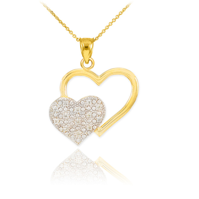 Gold Pave Diamond Twin Hearts Pendant Necklace