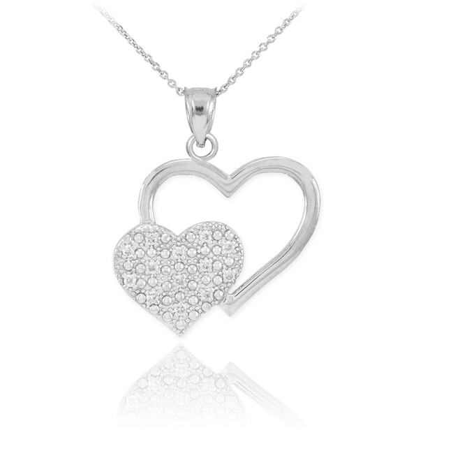 White Gold Pave Diamond Twin Hearts Pendant Necklace