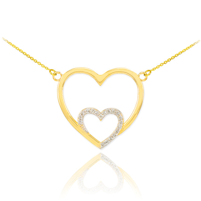 14k Gold Diamond Double Heart Necklace