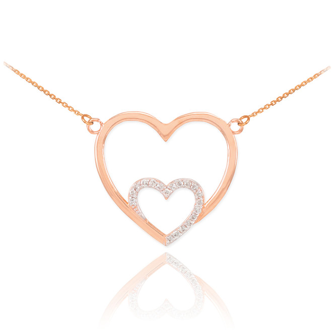 14k Rose Gold Double Heart Necklace with Diamonds