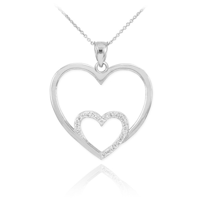 White Gold Double Heart Pendant Necklace with Diamonds