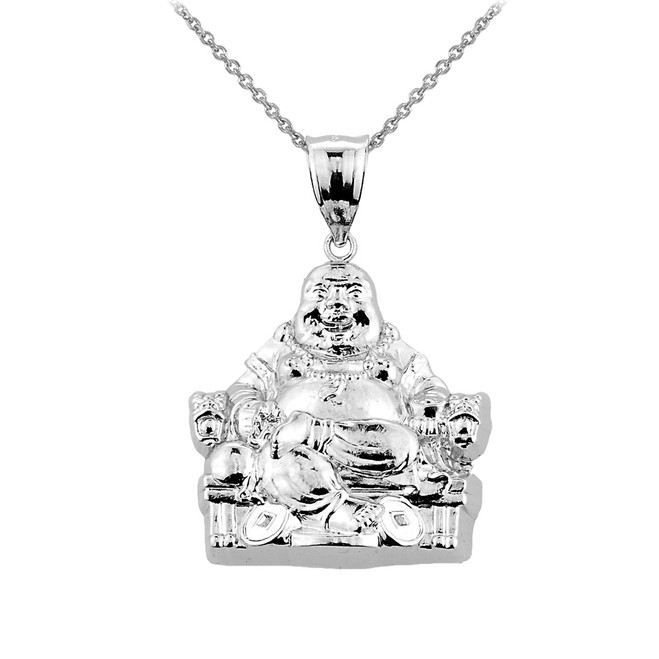 Sterling Silver Buddha Pendant Necklace
