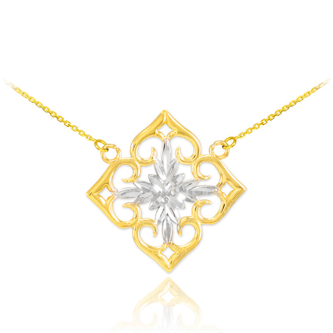 14k Two-Tone Gold Diamond Cut Flower Necklace
