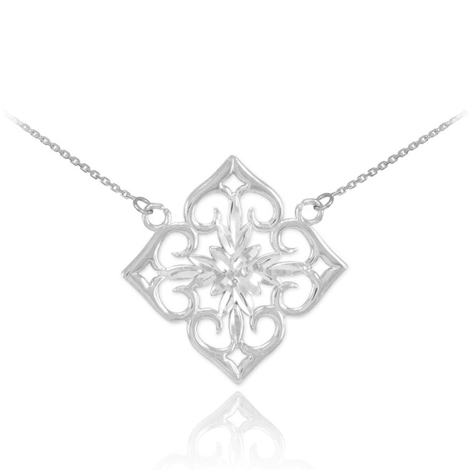 14k White Gold Diamond Cut Flower Necklace