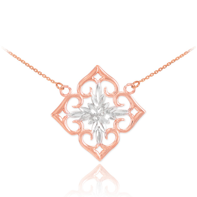 14k Two-Tone Rose Gold Diamond Cut Flower Necklace
