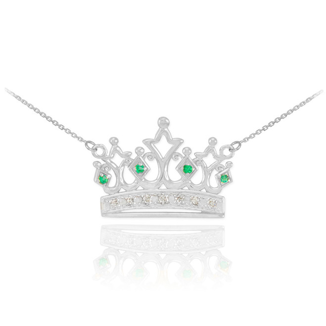 14k White Gold Emerald Crown Necklace with Diamonds