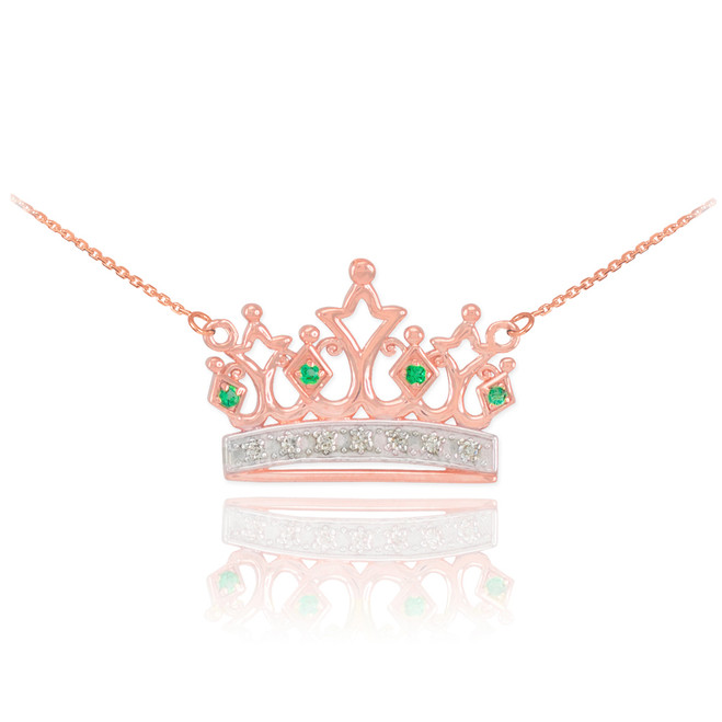 14k Rose Gold Emerald Crown Necklace with Diamonds