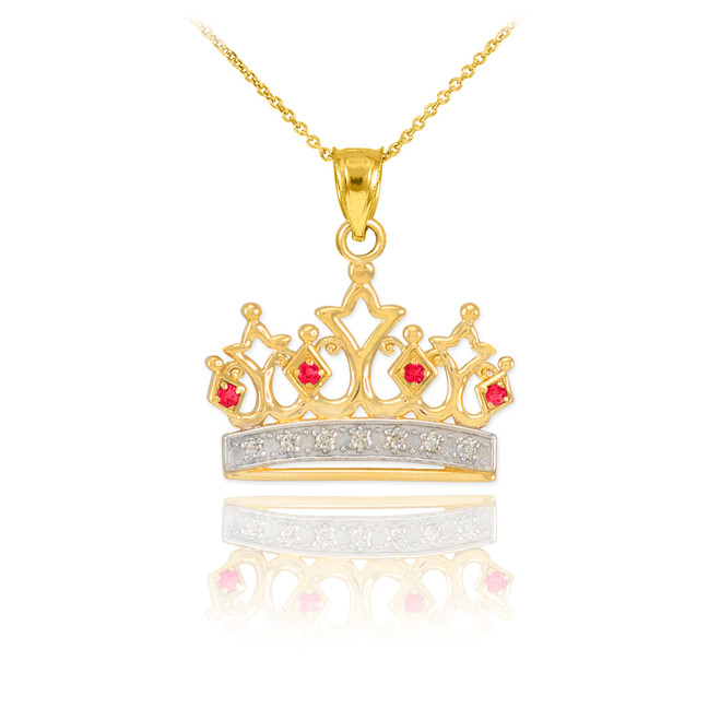Gold Ruby Crown Pendant Necklace with Diamonds